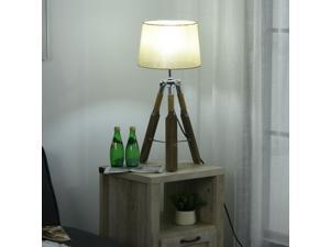 Tripod Stand Table Lamp with Hemp Rope Design Linen Lampshade Bedroom Office