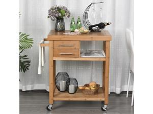 Distressed Bamboo Rolling Kitchen Island Trolley with Drawers  Shelves