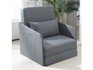 Single Sofa Bed Armchair Soft Floor Sleeper Lounger Futon Couch with Pillow