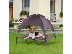 CYBER MONDAY SALE   Elevated Pet Bed Dog Foldable Cot Tent Canopy Coffee