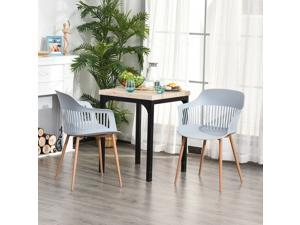 2 Pieces Plastic Dining Chair w/ Metal Legs Living Room Bedroom Modern Seat