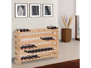 Wood Wine Rack Display 72 Bottles Holder Storage Stand 6-Tier Shelves