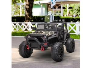 12V 2-Seater Kids Electric Ride On Police Car Camouflage Truck Toy with Remote