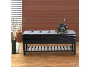 Faux Leather Bench Shoe Rack 3-seater Storage Ottoman Furniture Brown
