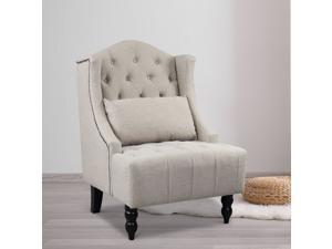 Tall Wingback Tufted Chair Accent Club Chair Nailhead Living Room Grey