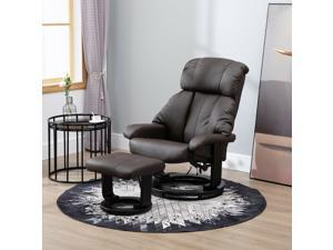 Massage Recliner Ottoman Set Lounge Set 10 Vibron Motor Brown