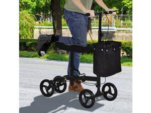 Knee Walker w/ Basket, Safety Lock Crutch Alternve PU Seat Black