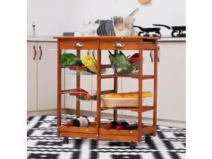 Rolling Kitchen Trolley Cart 4 Tier w/ Wine Rack 2 Drawers Basket Wood