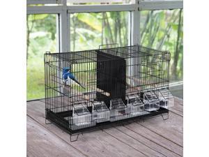 Flight Bird Cage 4 Doors 6 Food Boxes 4 Perch Pole Metal PP Pine