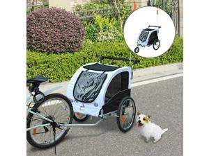 2in1 Pet Dog Bike Bicycle Trailer Stroller Jogger w/Suspension Black White
