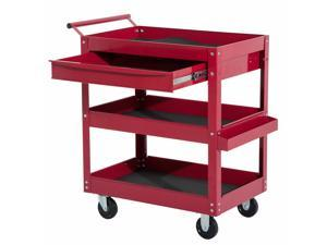 Rolling Tool Cart 3 Tray 1 Drawer Storage Chest Garage Utility Red Storage Chest