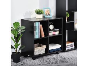Storage Wooden Cabinet Bookcase Display Unit w/ Wheels and 4 Storage Grids