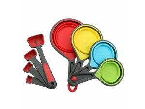 Food Grade Collapsible Silicone Space Saving Measuring Cups  Spoons 8 Piece Set