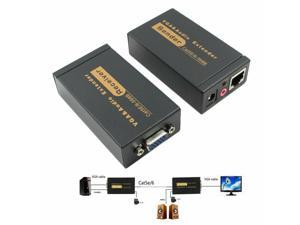 VGA UTP Video Audio Extender Repeater by Cat5e/6 up to 100M with Power Adapter