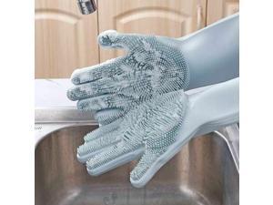 Magic Silicone Gloves Dishwashing Glove Scrubber for Washing Dish, Kitchen, Bath