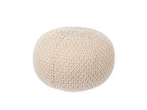 Knit Floor Pouf Round Footstool, Round Pouf Ottoman, Pouffe Seat -  ™
