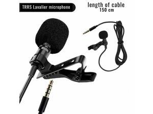 Lavalier Microphone 3.5mm Lapel Clip-on Mic for iPhone Android Smartphones PC