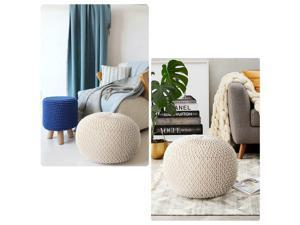 Knit Floor Pouf Round Footstool, Round Pouf Ottoman, Pouffe Seat For Living Room