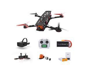 Beagle Drone Racing Kit 250mm Pro Carbon Fiber Quadcopter Frame Kit, Modular Solder Free Design + Flight Controller + Goggles + Transmitter + 2205 - 2300KV Beagle Motor, 360 Accident warranty