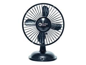 """Comfort Zone, 6USBFE, 1 Fan 6"""", Black, Oscillating Desk, Powered By USB or 4 x AA, Dual Powered"""