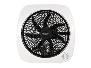 """Comfort Zone 10"""" 3 Speed Square Rotary Control Turbo Fan, White"""