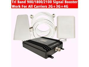 Tri Band LTE 4G Signal Booster Smart LCD 900/1800/2100 Signal Amplifier Work For All Carriers 2G 3G 4G Cellphone Network With Antennas And Cables Kits Use For Home/Office/Apartment...