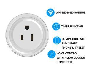 Smart plug,smart socket Mini Wifi Outlet Works With Alexa, Google Home & IFTTT, No Hub Required, Remote Control Your Home Appliances from Anywhere voice control
