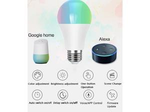 Smart WiFi Bulb, E27 LED RGB Color Changing, Compatible with Alexa Google Home IFTTT, No Hub Required 16 million color, 8 scene modes APP control voice control