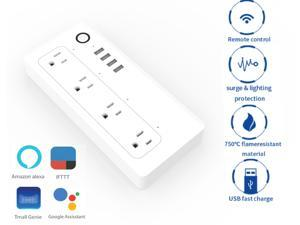 Smart Power Strip WiFi Power Bar 5ft Extension Cord Compatible with Alexa Google Home IFTTT Smart AC Plugs for Multi Outlets Surge Protector with 4 USB Charging Ports