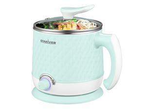Stariver Electric Hot Pot, Electric Cooker, 1.8L Multi-Functional Mini Pot for Noodles, Soup, Porridge, Dumplings, Eggs, Pasta with Keep Warm Function, Over Heating and Boil Dry Protection, Green