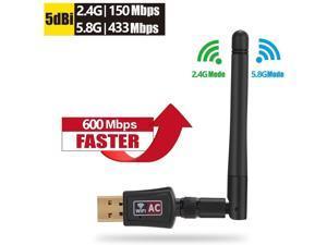 WIFI Adapter, 600Mbps Dual Band (2.4G/150Mbps+5G/433Mbps) Wireless USB Wifi Adapter, External Powerful Antenna, 802.11 N/G/B Network Lan Card For Windows XP/Vista/7/8/8.1/10 (32/64bits) MAC OS