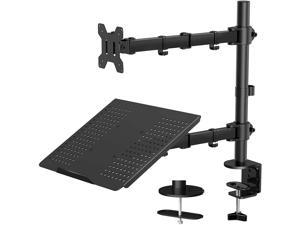 """Laptop Monitor Mount Stand with Keyboard Tray, Adjustable Notebook Desk Mount with Clamp and Grommet Mounting Base for 13 to 27 Inch LCD Computer Screens Up to 22lbs, Notebook up to 15.6"""", Black"""