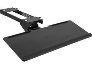 Adjustable Computer Keyboard and Mouse Platform Tray Deluxe Smooth Rolling Track Under Table Desk Mount, Black, MOUNT-KB04C