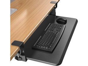 """Keyboard Tray Under Desk, Slide-Out Enlarged Keyboard Mouse Holder, Ergonomic Clamp on Computer Drawer Extender Measuring 26.3"""" x 11.8"""" Black"""