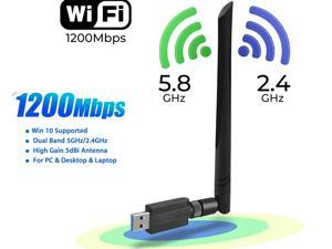 NEW Edition - WiFi Adapter, 1200Mbps USB Wireless Adapter, 802.11ac 2.4G/5G Dual Band Network LAN Card with External 5dBi Antenna, for Desktop Laptop PC Windows 10/ Vista /7 /8 /8.1 / XP, Mac OS X