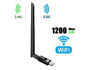 USB Wifi Adapter, 1200Mbps USB 3.0 Wifi Dongle 802.11 ac Wireless Network Adapter with Dual Band 2.4GHz/300Mbps+5GHz/866Mbps 5dBi High Gain Antenna for Desktop Windows XP/Vista/7/8/10 Linux Mac