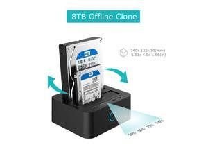 """Hard Drive docking station, USB 3.1 Gen1 to SATA Dual-Bay 2.5"""" or 3.5"""" HDD / SSD with Offline Duplicate / Clone Hard Drive Docking Station plus a free USB type C adapter"""