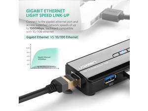 USB 3.0 Hub Ethernet Adapter 10/100/1000 Gigabit Network Converter with USB 3.0 Hub 3 Ports for Nintendo Switch, Windows Surface Pro, MacBook Air/Retina, iMac Pro, Chromebook, PC