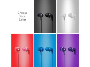 Wired ErgoFit In-Ear Earbuds Headphones , PANASONIC ErgoFit Earbud Headphones with Microphone and Call Controller Compatible with iPhone, Android and Blackberry - - In-Ear