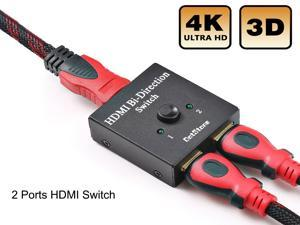 2 Ports HDMI Switch, HDMI Switch Bi-Direction 4K HDMI Splitter 2 x 1/1 x 2 No External Power Required 2 Ports HDMI Switcher Supports Ultra HD 4K 3D 1080P for PS4 Xbox Fire Stick Roku