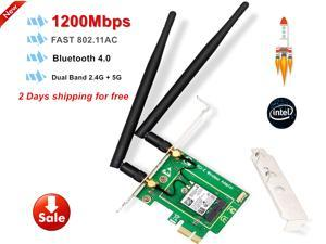PCIe WiFi Card AC 1200Mbp Wireless Network Card with Bluetooth 4.0 Network Server Adapter, Wireless PCI Express Adapter Dual-Band 5G/2.4G PCI-E Wireless WI-FI Adapter Network Card for PC