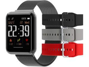 Beantech Emerge S3 Smartwatch for iPhone and Android, Black with 3 Extra Straps
