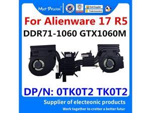 Laptop New original CPU\/Graphics Cooling Heatsink Fan Assembly For Dell Alienware 17 R5 ALW17 R5 DDR71 GTX1060M 0TK0T2 TK0T2