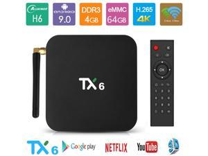 New Android TV Box 9.0 Smart TV Box Media Player 4GB 64GB TX6 Support USB 3.0 2.4G/5G Dual-Band Wi-Fi 3D 4K Full HD H.265 100M Ethernet Set Top Box