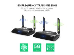 Wireless HDMI Transmitter and Receiver,5G Wireless HDMI Extender for TV Audio Video,1080P Full HD 3D AV Sender with IR Remote Control Support 492FT Transmission for Projector Monitor Home Use PAT-590