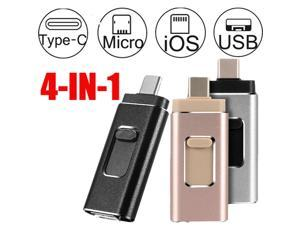 New Flash Drive USB Memory Stick HD USB 3.0 Disk 4 in 1 For IOS iPhone Android Type C PC OTG 8GB/16GB/32GB/64GB/128GB