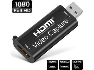 Audio Video Capture Card HDMI to USB2.0 - Full HD1080P 30fps Video Record via DSLR,Camcorder,Action Cam for High Definition Acquisition, Live Broadcasting, Live Streaming (Black)
