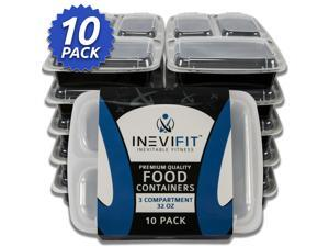 INEVIFIT Meal Prep 3 Compartment BPA FREE, Premium Food Storage Containers, Durable & Reusable, 32 oz. Stackable 10 Pack, Microwaveable & Dishwasher Safe, Leak Resistant Bento Lunch Box