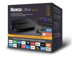 Roku Ultra HD/4K/HDR Streaming Media Player - Voice Remote, Remote Finder, Ethernet, MicroSD, USB, and Premium JBL Headphones