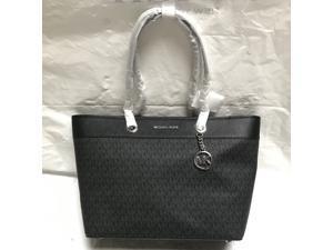 Michael Kors Shania Large EW Chain Tote Shoulder Bag PVC Leather MK   35H9SI4T7B - Black